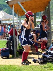 cousin Emily warming up at bat