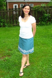 prAna's kate skirt in Agean on a real mom