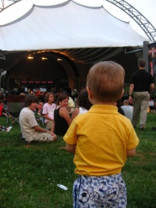 Calvin dancing to the band at Charlottesville Pavilion and garnering some of his own fans