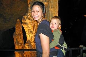Dr. Dolly & Calvin at a stalactite and stalagmite column