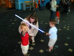 Cousin J enjoys the light sabre