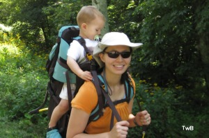 Dr. Dolly and Calvin in Sherpani Rumba Backcountry Baby Carrier