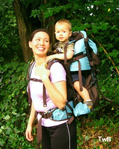 Dr. Dolly and Calvin in Sherpani Rumba baby carrier
