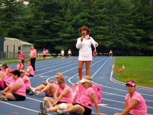 Joan Esposito at the Women's Four Miler Training Program on the UVa track